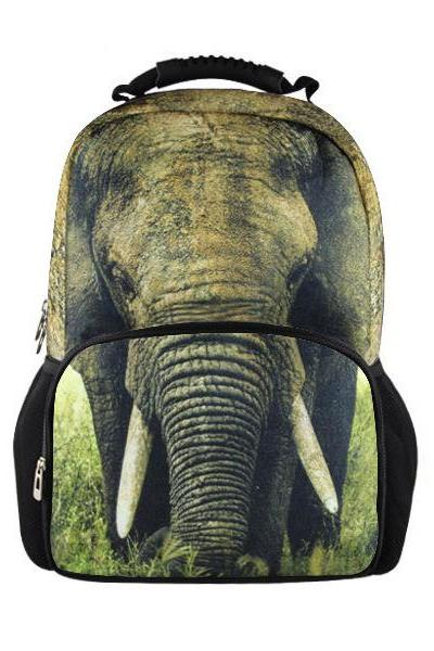 Elephant Printed Backpack In Black