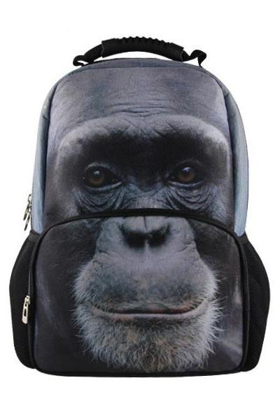 Orangutan Printed Backpack In Black