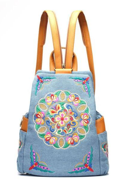 Embroidery Floral Denim Backpack