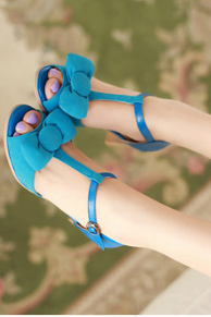 Fashion shoes bow fish head thick with non-slip buckle sandals T--blue