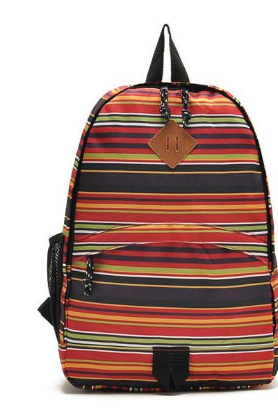 Stripes Printed Backpack In Orange