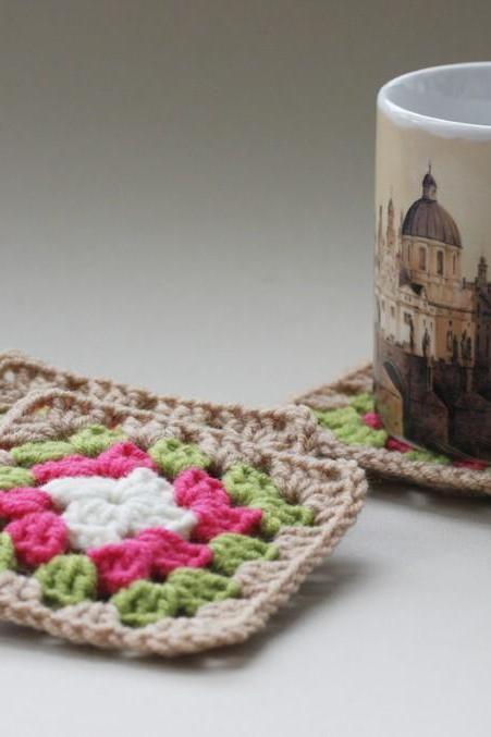 Crochet coffee coaster - granny squares for multipurposes