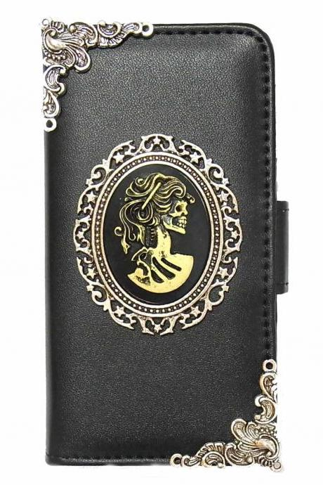 Skull Lady LG Optimus G2 G3 Wallet case,LG Optimus G2 G3 Flip Leather Case Cover, Victorian Skull Lady LG Optimus G2 G3 Wallet Pouch Leather Case Cover A1