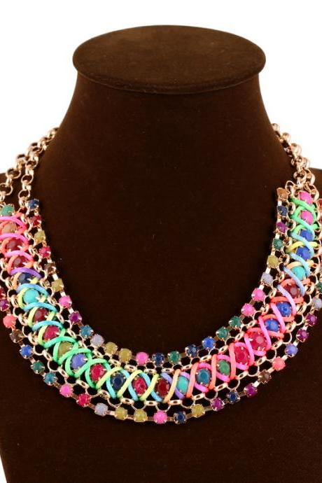 Exotic Bohemia Multicolor Rainbow Bead Gemstone Weaved Necklace