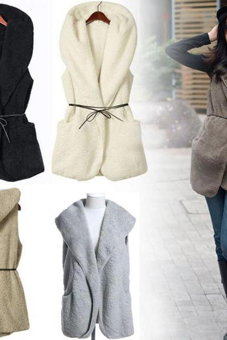 Women Hoodie Faux Lamb Fur Long Vest Sleeveless Jacket Waistcoat Coat Outerwear