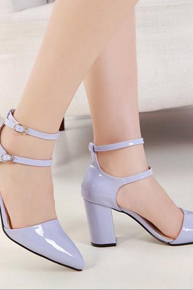 Pointed-Toe Dual Ankle Strap Chunky Heels Sandals