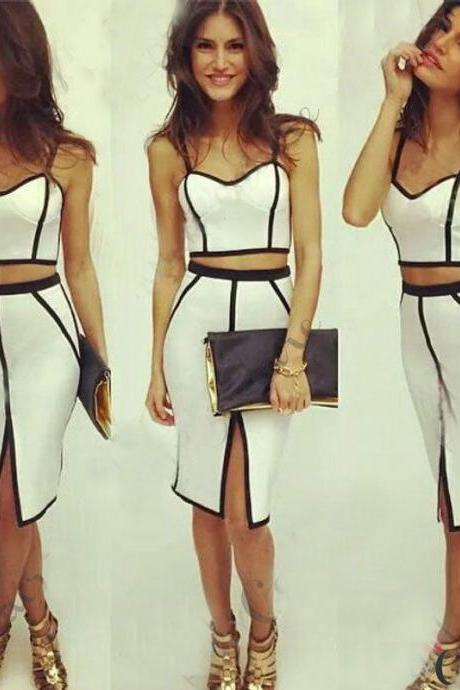 XMAS SEXY White Women Ladies Bodycon Bandage Crop Tops and Skirt Dress 2pcs Set