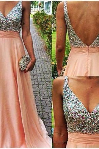Lovely Light Pink V-Neckline Backless Floor Length Prom Dresses 2015 With Rhinstones, Prom Dresses 2015, Prom Gown, Evening Dresses