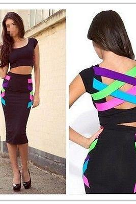 Two-pieces Set Top Quality Women Bodycon Bandage Dress Sexy Cocktail Party Dress