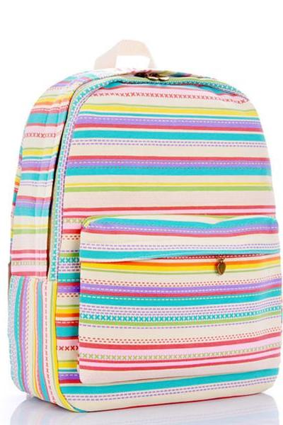 Multicolor Stripes Canvas Backpack