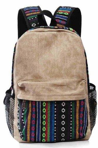 POMELO Vintage Tribe Pattern Colorful Wool Knitting Canvas Backpack