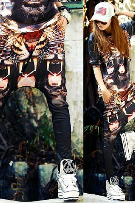 Womens Loose Harem Pants Tiger Printed Dance Sport Casual Sweatpants Hip Hop Slacks 2015 Fashion Trousers