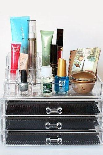 Luxury Acrylic Cosmetic Organizer Makeup Box 3 Drawers with top set