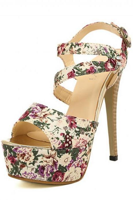 Sexy Women's Floral Print Strap Peep Toe Platforms Heeled Sandals With Assymetric Cute