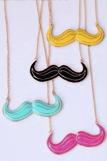 Gold Tone Mustache Necklace