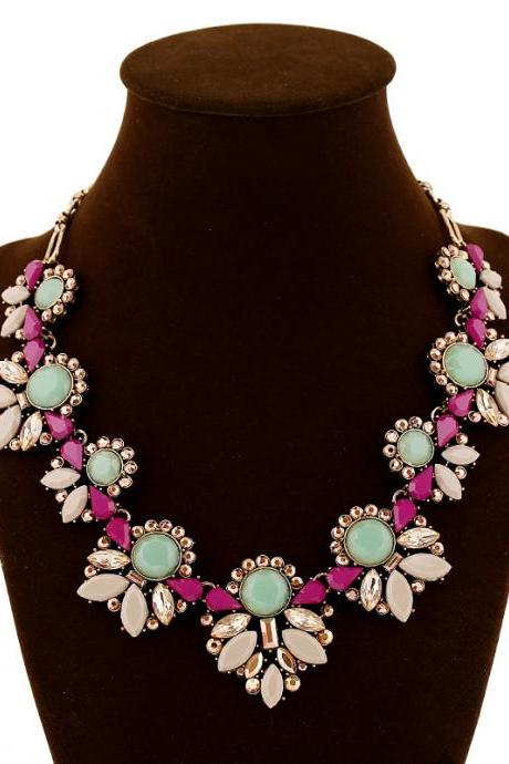 Retro Colorful Gemstone Crystal Flower Linked Pendant Necklace