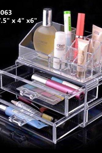 Acrylic Cosmetic Organizer Makeup Box 2 Drawers