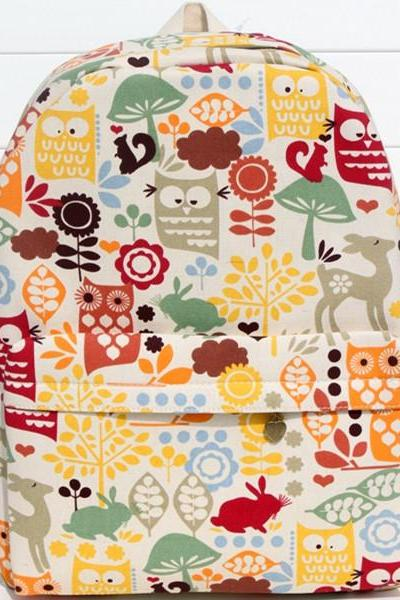 Multicolor Owls Print Canvas School Bag Travel Backpack
