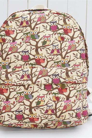 Full Owls In The Trees Print School Bag Backpack