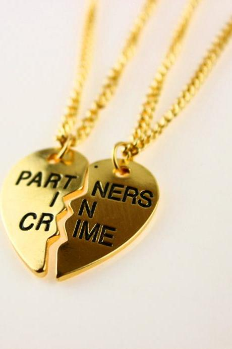 FREE SHIPPING 14K Gold Love Heart Pendant Chain Necklace as Best Friends Partners Friendship Jewelry Gift