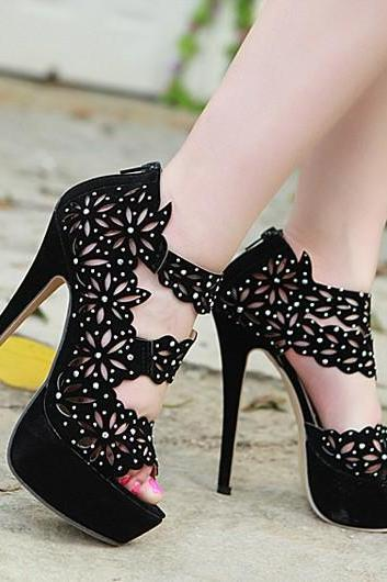 Fashion Peep Toe Hollow Out Rhinestones Embellished Platform Stiletto Super High Heels Black PU Sandals