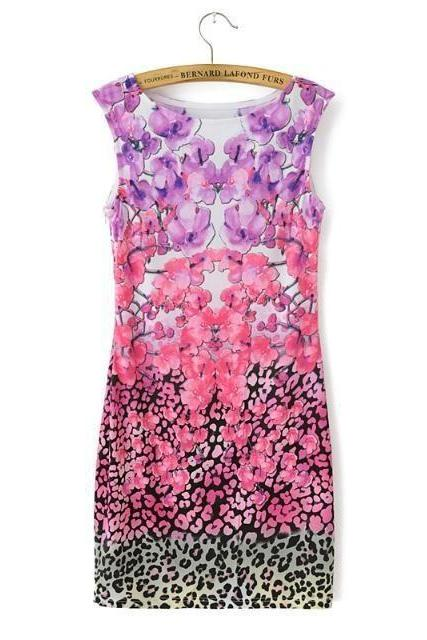 Elegant Floral Leopard Print Dress