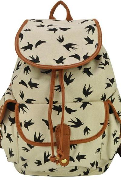 Women's Full Fox And Swallows Print Canvas School Bag Travel Backpack