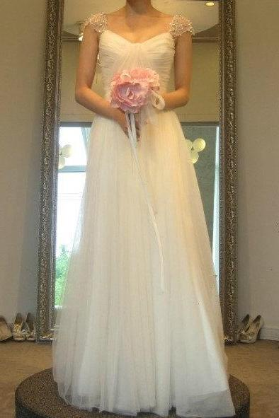 2016 Simple Wedding Dress, Floor-Length Wedding Dresses, The Charming Wedding Dresses, A-Line Wedding Dresses