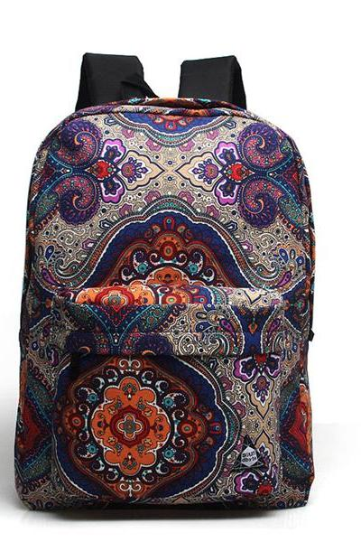 Vintage Pattern Canvas School Bag Travel Backpack