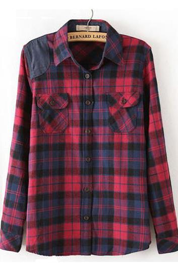 Causal Long Sleeve Plaid Design Polyester Shirt For Woman
