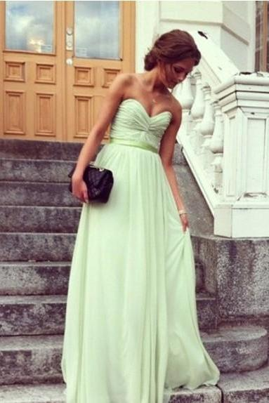 Cute and Lovely Sage A-line Sweetheart Floor Length Prom Dress/Bridesmaid Dresses/Graduation dresses