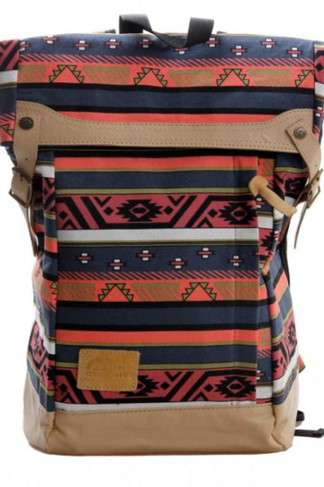 Weaving Fabric Front Wide Shoulder Straps Laptop And Travel Casual Backpak