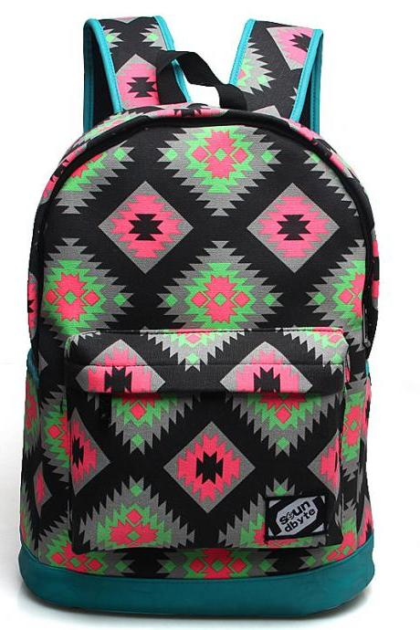 Pattern Printed Student Canvas Laptop Backpack Color Blue