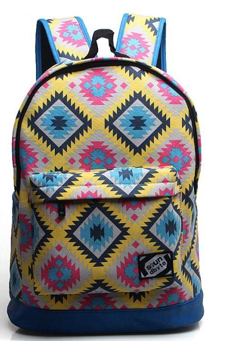 Pattern Printed Student Canvas Laptop Backpack Color Yellow