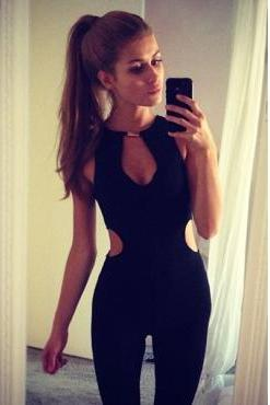 Cheap Sexy Cut-out Solid Black Polyester One-piece Regular Jumpsuit