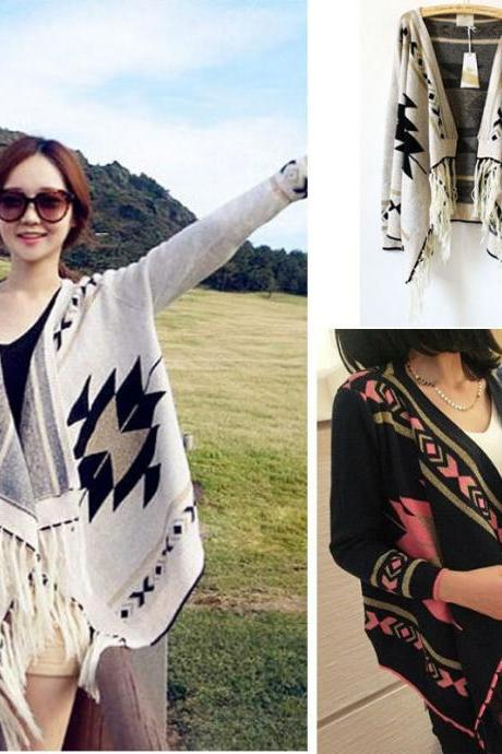 Womens Geometric Tribal Aztec Long Sleeve Knitted Cardigan Sweater Tops Black