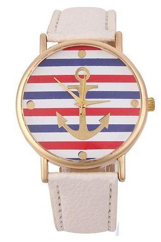 Anchor white Colorful stripes fashion woman watch