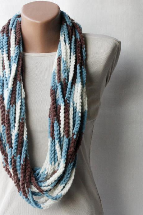 Crochet scarf - infinity chunky wool blend - multicolor white brown blue - autumn accesories fall fashion