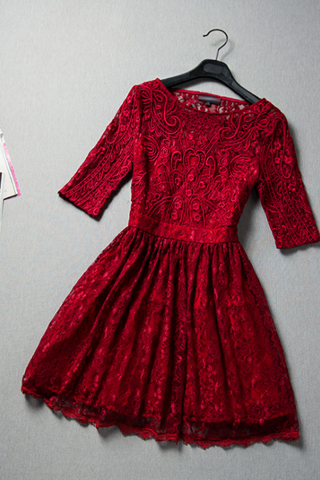 Slim round neck lace embroidered dress VC32214MN
