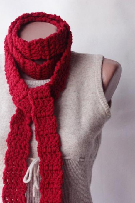 Red Crochet Scarf Wool blend crochet long scarf autumn accessories fall fashion