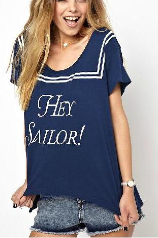 Letters printed asymmetrical short-sleeved navy wind t shirt