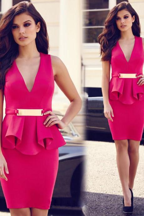 New Fashion Stylish Lady Women's Sleeveless Formal Career Package Hip Sexy Dress