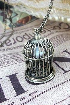 Vintage 3D Silver Gold Can Be Opened Birdcage Bird Cage Necklace good Xmas Gift