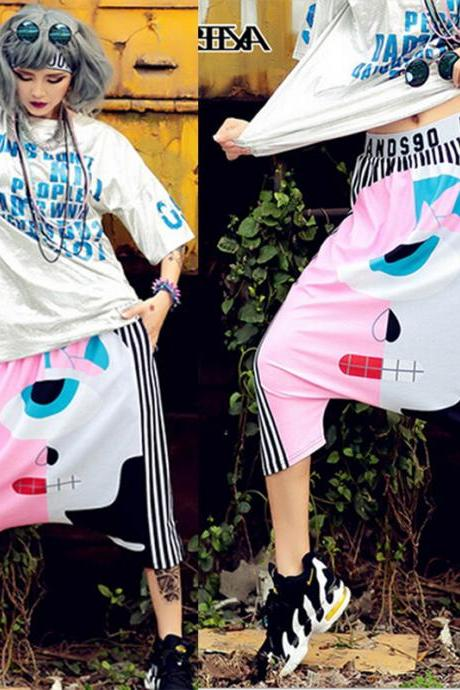 2015 Fashion Women's Punk Hip Hop Harem Pants Stripe Loose Sports Jogger Trousers Sweatpants Capris