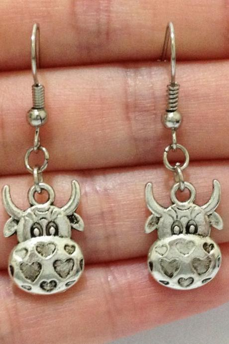 Lady Charm Tibet Silver Cute Cow Head Animals Alloy Dangle Pendant Earrings