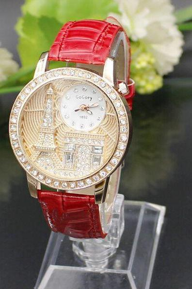 Eiffel Towel Triumphal Arch Brown Red Face Dress Girl Watch