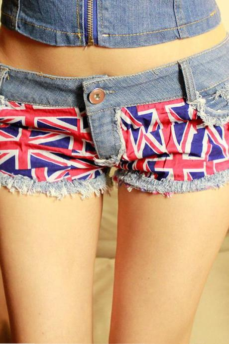 Hot Sexy Women UK Union Flag Mini Jeans Shorts Pants Trousers Denim Low Waist