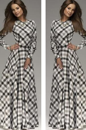 New arrival women full sleeve o-neck elegant casual dress of chess women's fashion dress maxi dress plus size