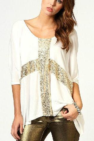 Cross sequined low round neck loose sleeve cotton T-shirt