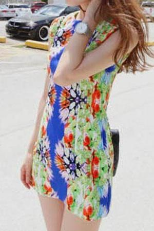 Sexy Multicolor Tie Dye Curved Waist Sleeveless Mini Dress